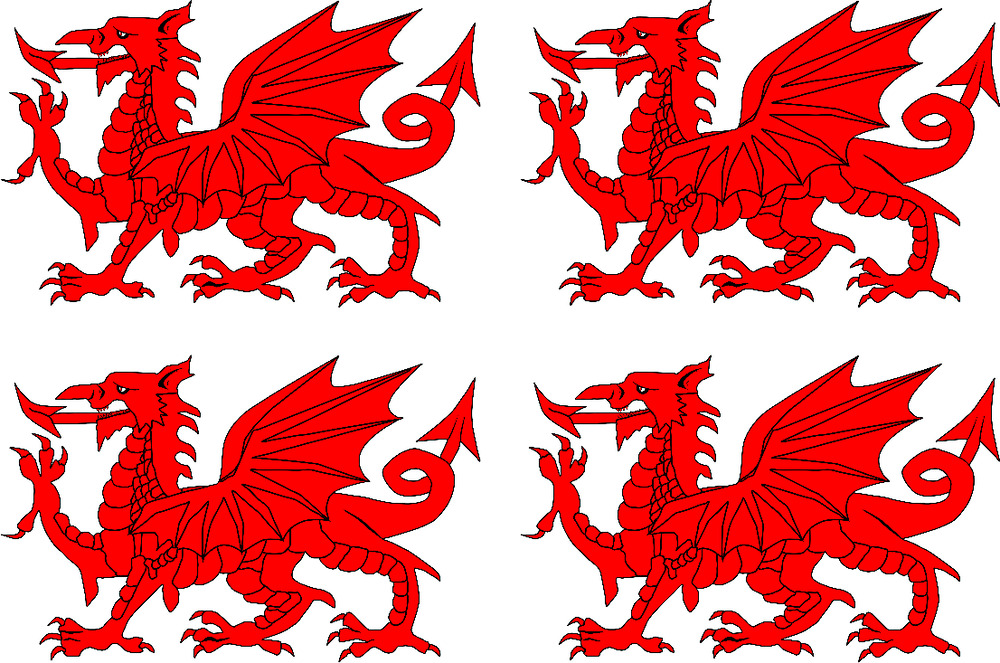 football rugby welsh dragon face tattoo x 4 ebay. Black Bedroom Furniture Sets. Home Design Ideas