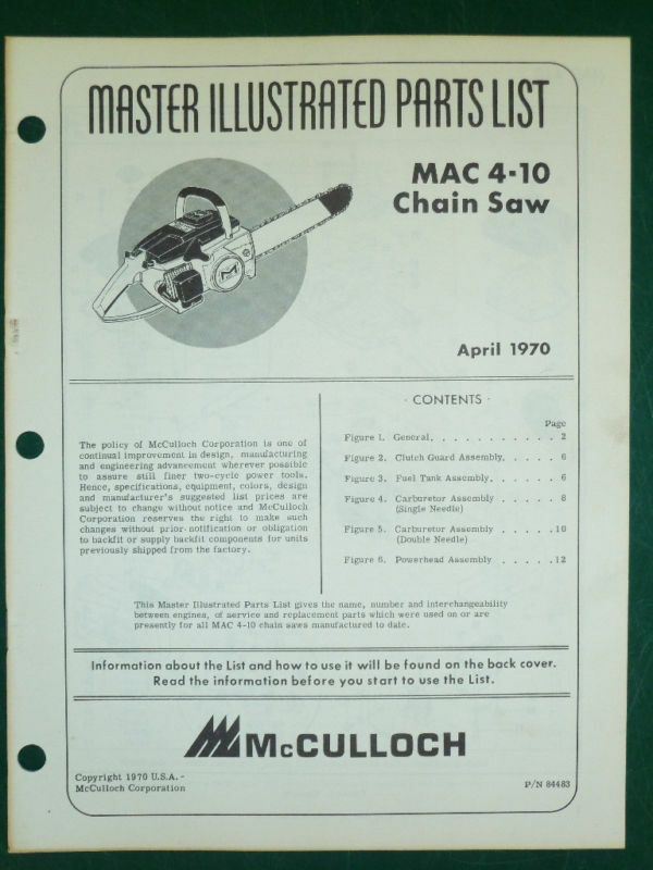 mcculloch mac 10 10 automatic owners manual