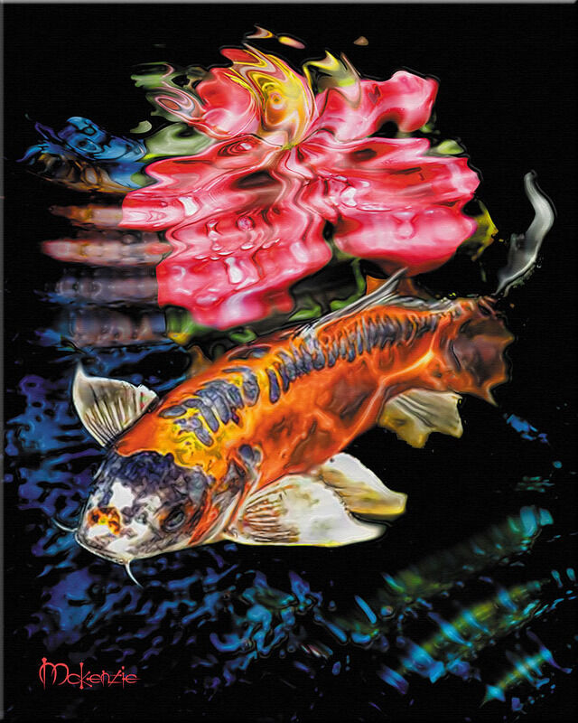Japanese art koi surface fish pond feng shui painting ebay for Surface fish ponds