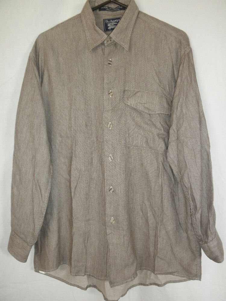 Burberrys mens brown long sleeve dress shirt size m ebay for Mens dress shirt sleeve length