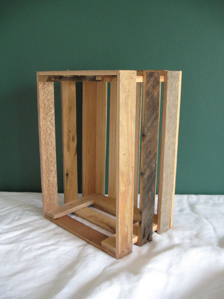 Barnwood barn wood crate rustic apple decorative box k d cobbleshop ebay - Decorative wooden crates ...