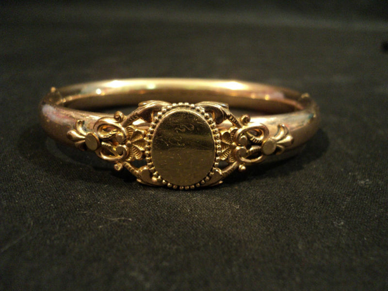 ATTRACTIVE VICTORIAN PERIOD ROLLED GOLD BANGLE BRACELET   eBay
