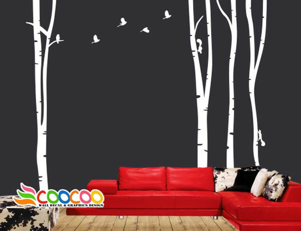 Wall decor decal sticker large birch tree trunk forest ebay for Tree trunk wall art