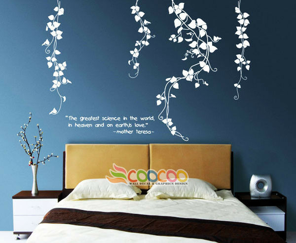 Wall Decor Decal Sticker Removable Vinyl Leaves Flower Ebay