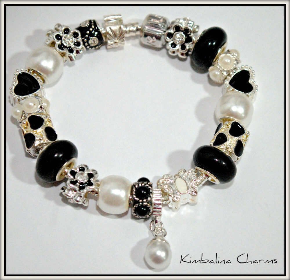 EUROPEAN STYLE CHARM BEAD BRACELET Black And Pearl