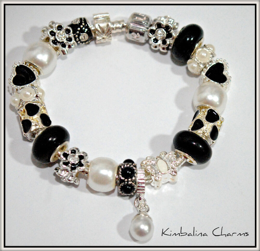 european style charm bead bracelet black and pearl ebay. Black Bedroom Furniture Sets. Home Design Ideas