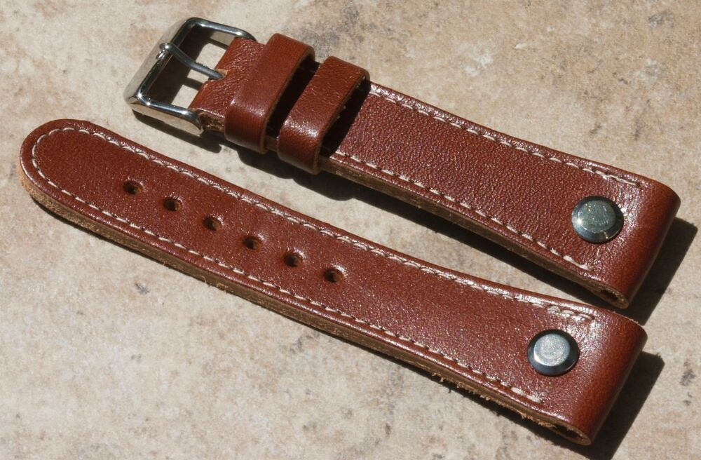 Pilot's 22mm watch strap open-ended band white stitching ...