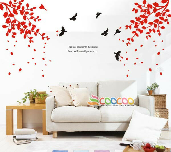 Wall Decor Decal Sticker Vinyl Large Tree Spring Leaves Ebay