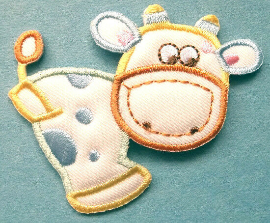 Cow farm animal cream pastels baby embroidered