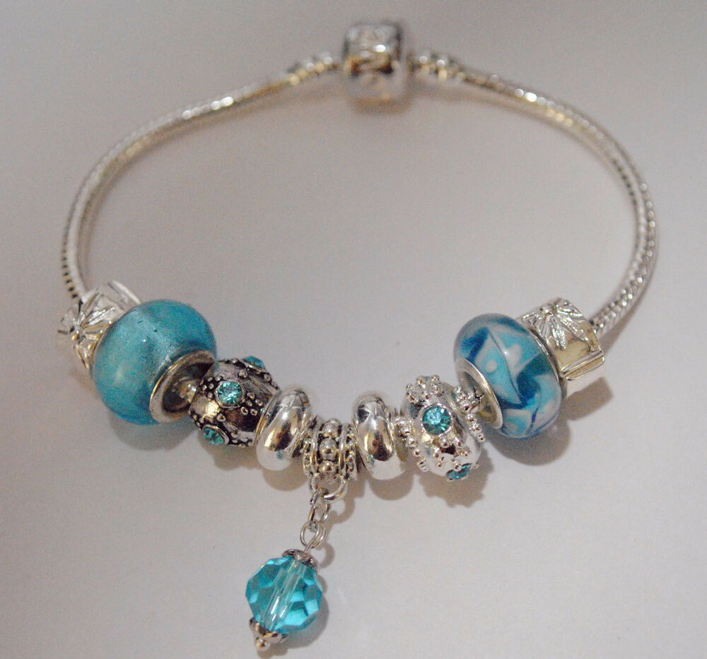 EUROPEAN STYLE CHARM BEAD BRACELET March Birthstone