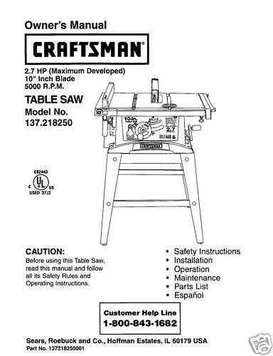 Craftsman 137 Table Saw Manuals / Disc drivers Windows Vista