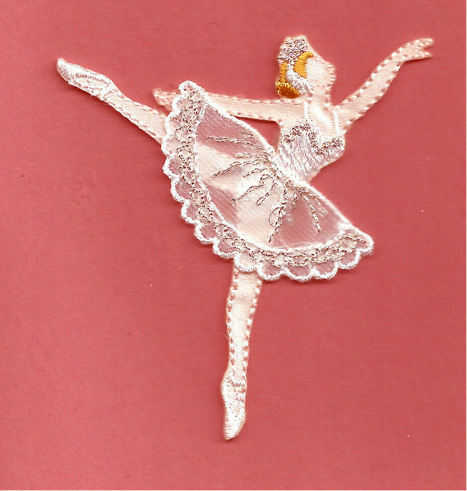 Dance - Ballet - Ballerina In White/Silver Embroidered Iron On Applique Patch | EBay