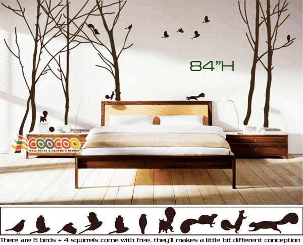 Wall Decor Decal Sticker Vinyl Large Tree Trunk Forest Ebay