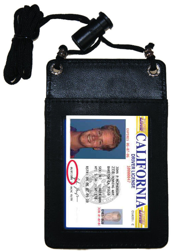 Black Leather Id Card Holder Travel Pouch Neck Badge Strap