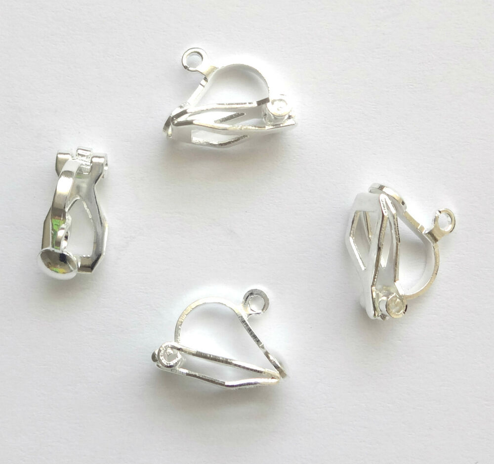 20 silver plated 12x6mm clip on earring findings ebay