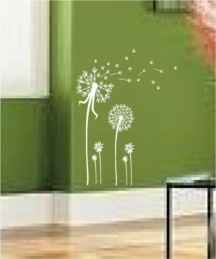 Dandelion spore art vinyl wall decal mural sticker ebay for Decal wall art mural