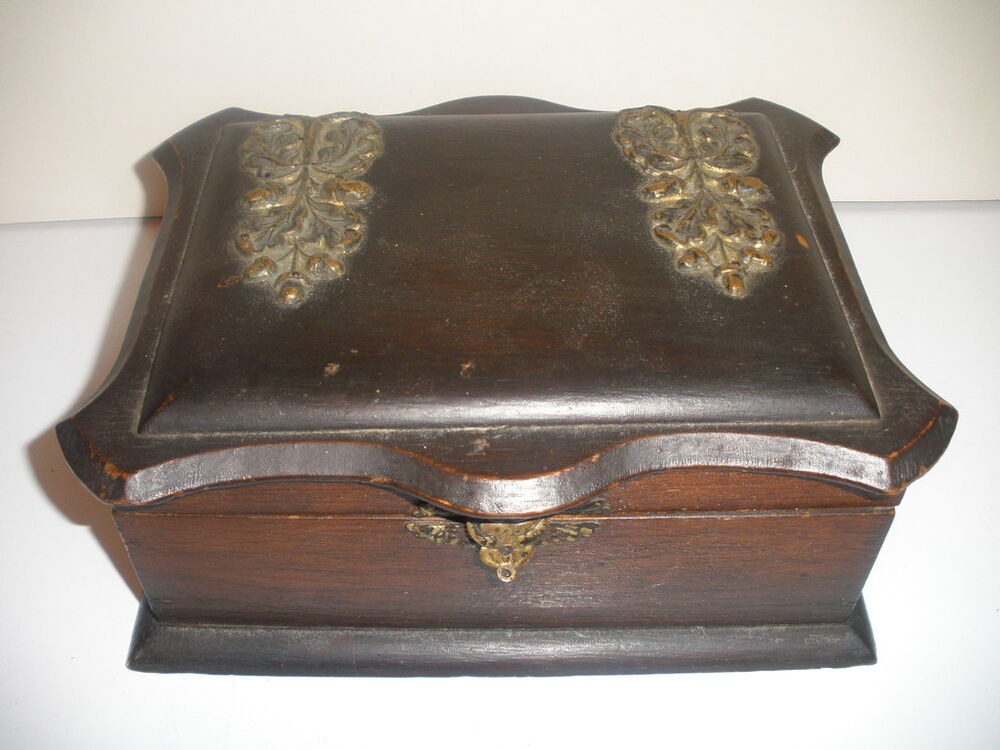 19th antique victorian wood early wooden jewelry box ebay for Victorian woodwork