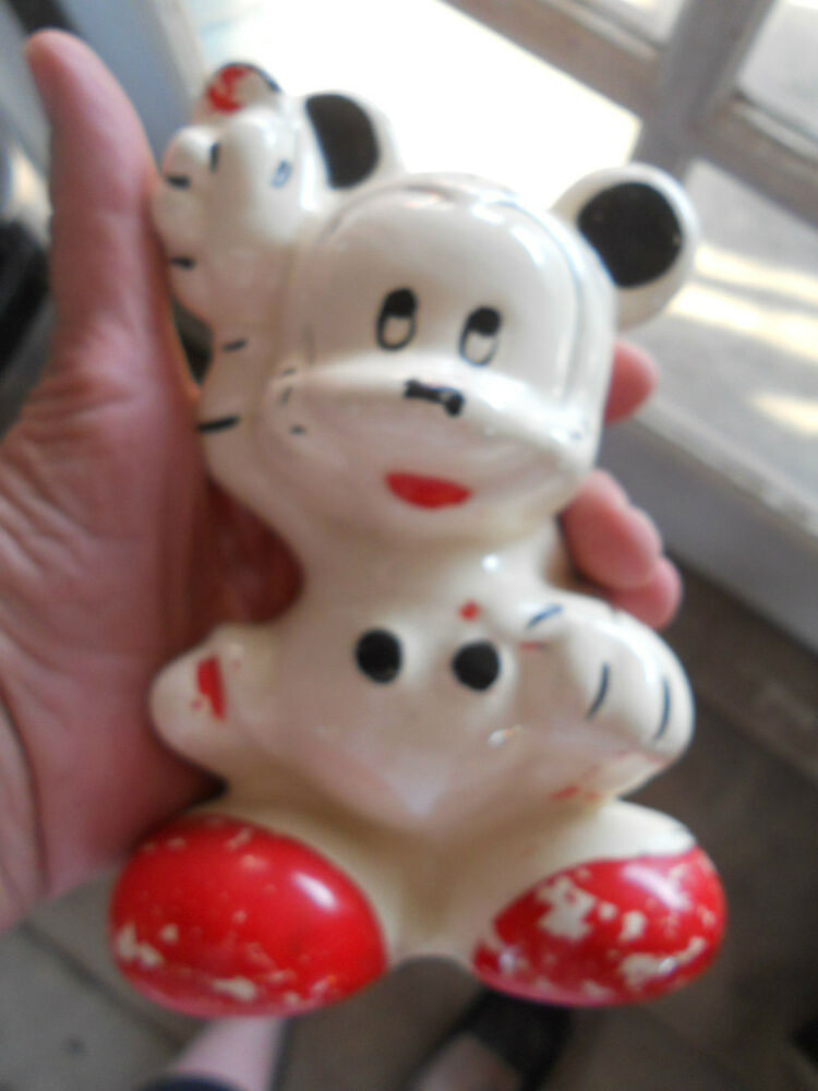 Early Vintage Mickey Mouse Still Coin Bank Pottery Ebay