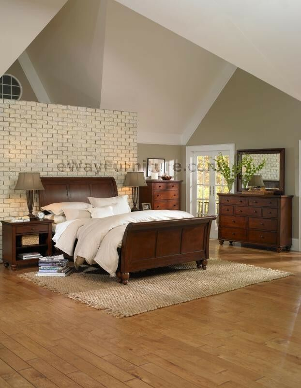 Brown Cherry Finish Sleigh King Bed Online Wood Bedroom