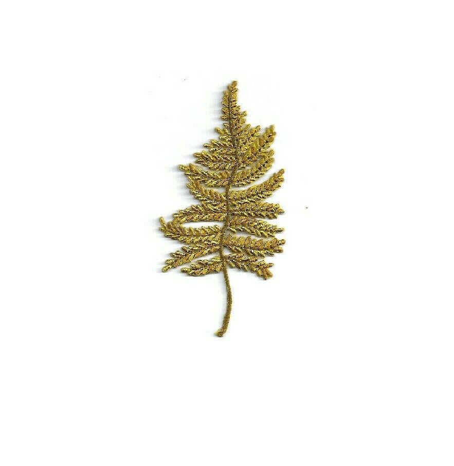 Gold fern leaf autumn fully embroidered iron on