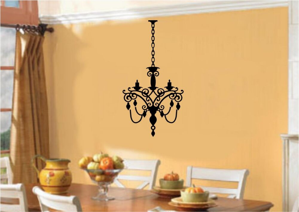 Chandelier light vinyl wall stickers decal room decor ebay for Chandelier room decor