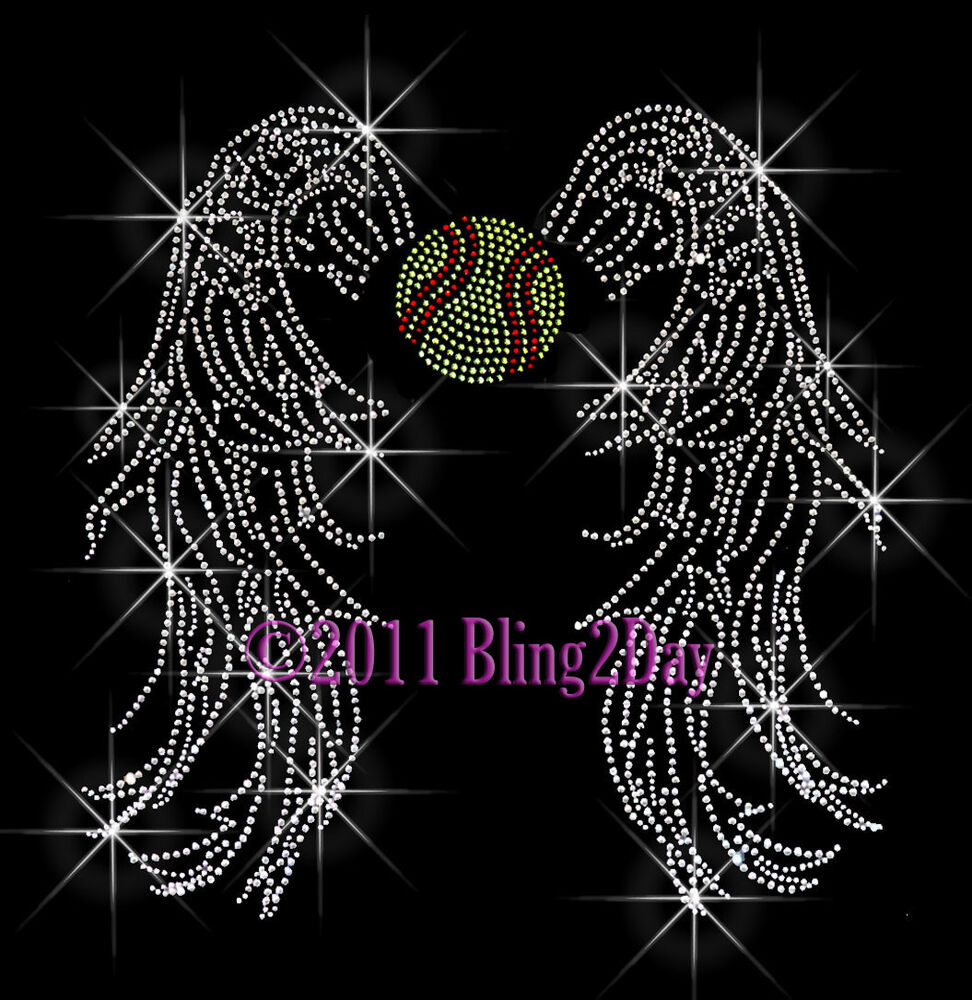 Details about   SOFTBALL ANGEL WINGS RHINESTONE IRON ON TRANSFER SPORT