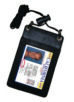 BLACK Leather ID CARD Holder Neck Travel Pouch Wallet.