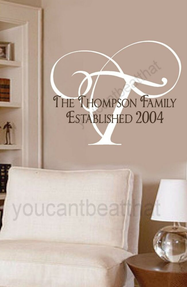 monogram personalized name sticker vinyl wall decal ebay. Black Bedroom Furniture Sets. Home Design Ideas