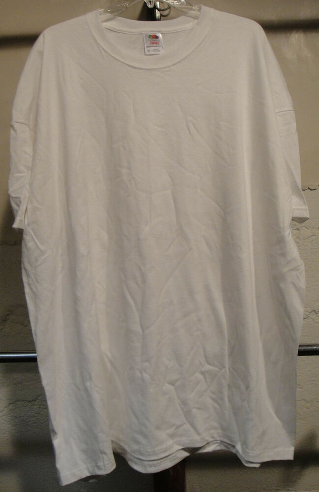 Fruit Of The Loom Mens Heavy Cotton T Shirt White 4xl Ebay