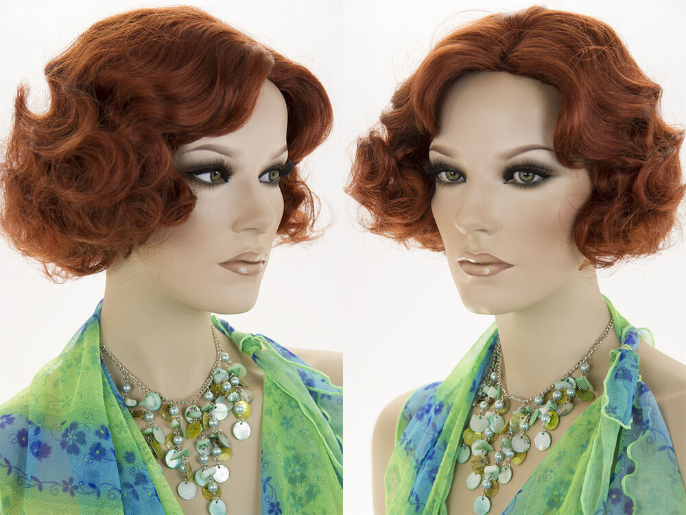 Flapper Hair Style: Medium Length Blonde Red Wavy Curly Flapper Style Wig