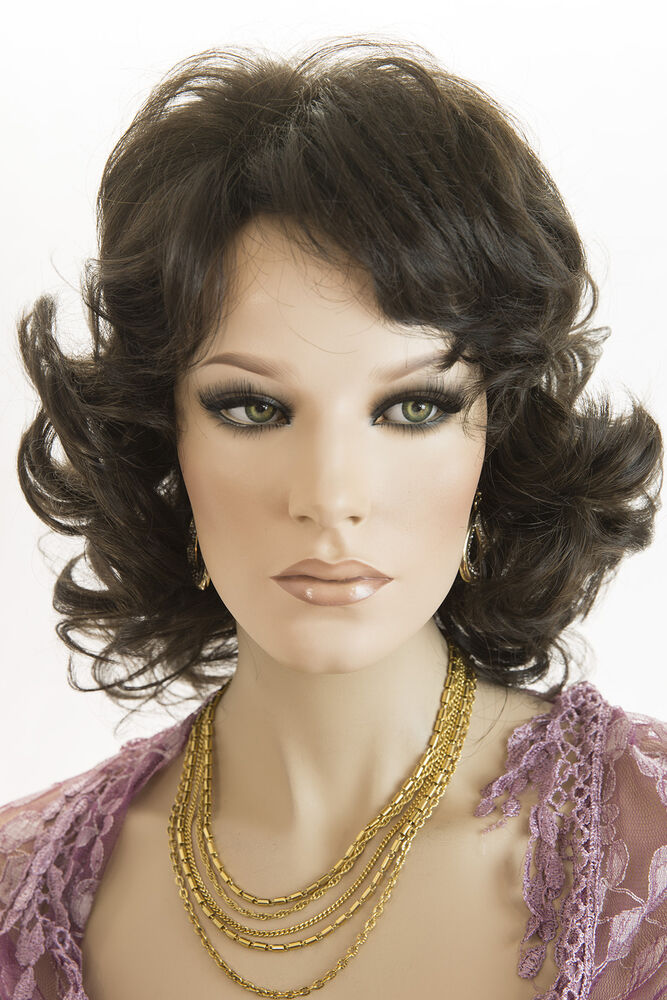 Highlight Brunette Long Medium Length Wavy Curly Wigs Ebay