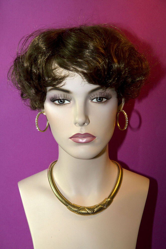 Medium Golden Brown Brunette Short Wavy Straight Wigs Ebay