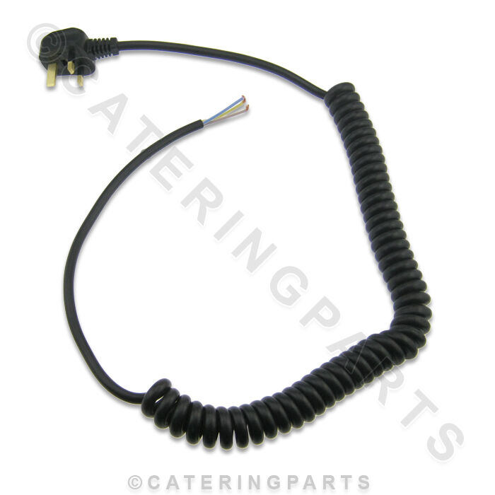 mf01 coiled mains flex wire cable 13 amp with moulded plug heavy duty commercial