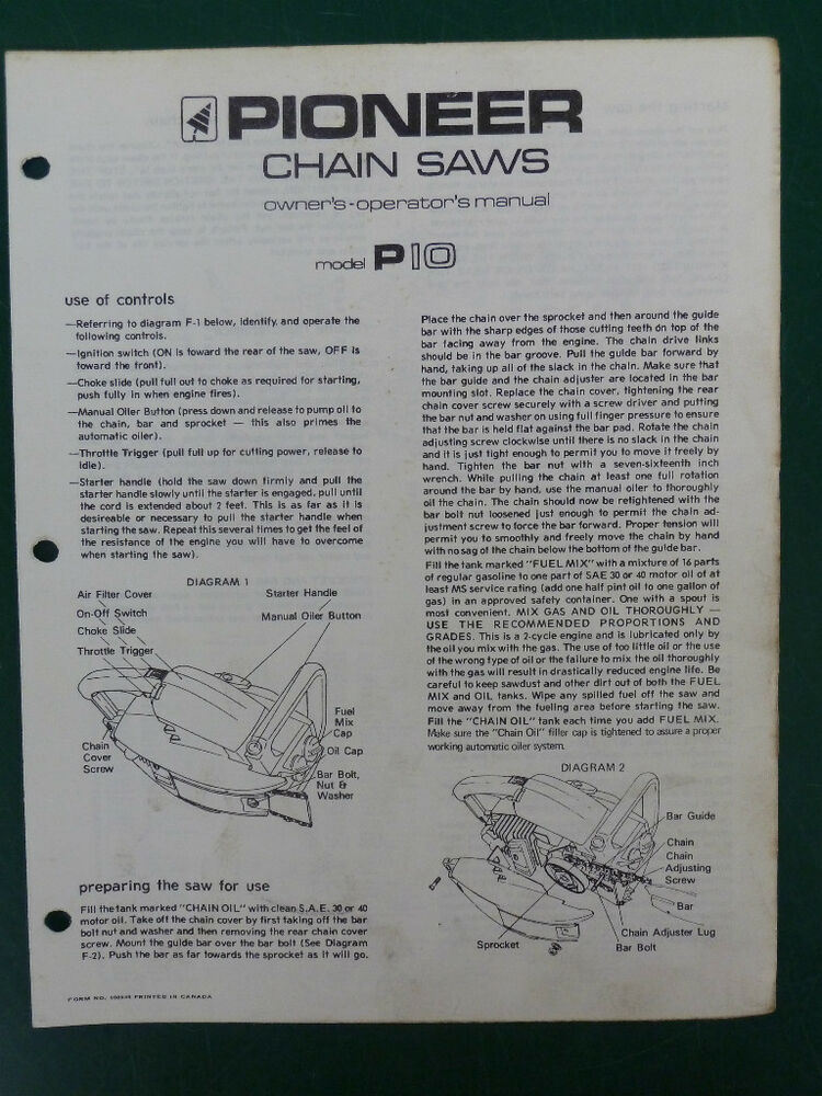 Pioneer Model P10 Chainsaw Illustrated Parts  Operator U0026 39 S Manual Chain Saw Part