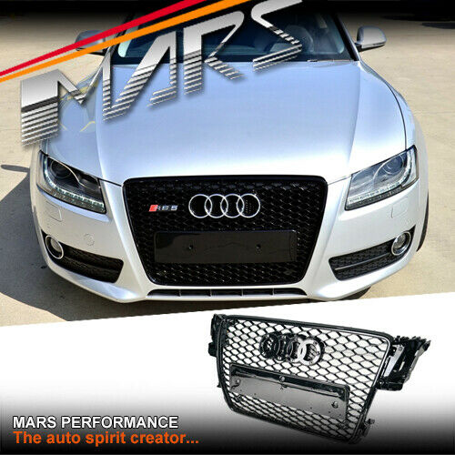 gloss black honeycomb rs5 style front bumper grille grill. Black Bedroom Furniture Sets. Home Design Ideas