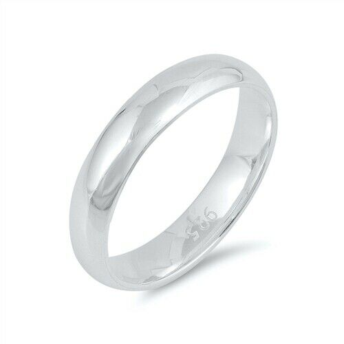 Sterling Silver Plain 4mm Wedding Band Promise Ring Size 4 5 6 7 8 9 10 11 12