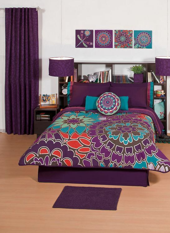 New girls purple flowers comforter sheets bedding set full - Turquoise and purple bedroom ...
