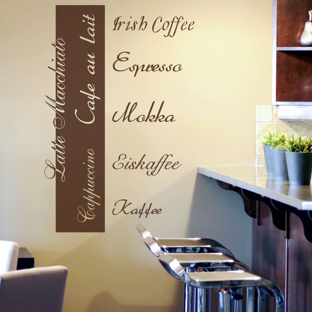 wandtattoo kaffee espresso cappuccino k che esszimmer wandbanner wandaufkleber ebay. Black Bedroom Furniture Sets. Home Design Ideas