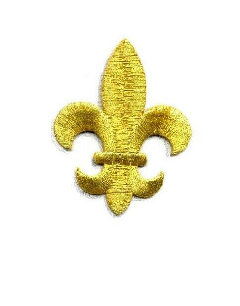 Fleur De Lis Gold 2 1 2 H Embroidered Iron On Patch Ebay