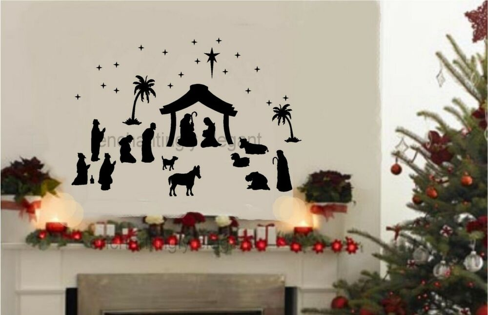 Wall Decorating For Christmas : Piece large nativity set vinyl decal wall stickers