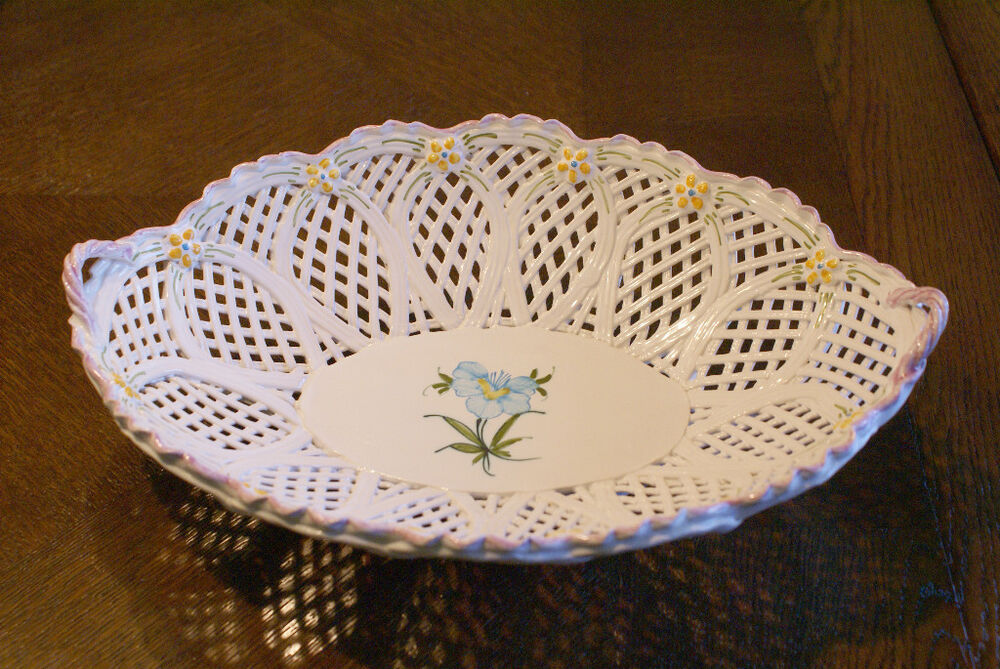 Ceramic Fruit Bowl Basket Weave Hand Painted Handcrafted