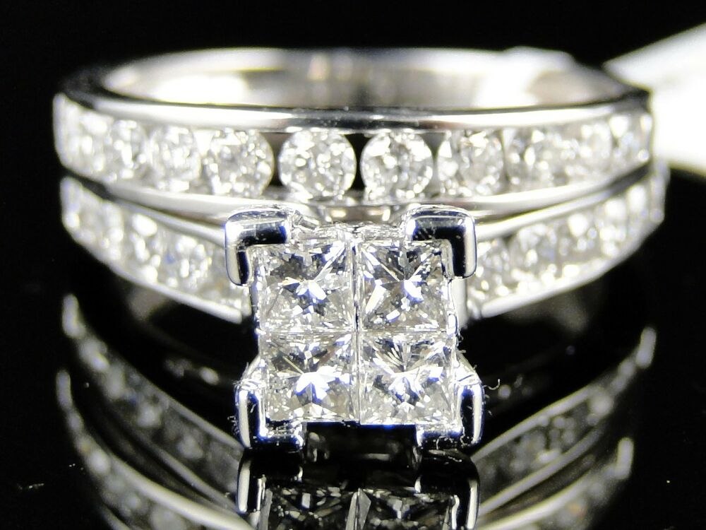 1 5 CT WOMENS WHITE GOLD DIAMOND PRINCESS CUT ENGAGEMENT WEDDING RING BRIDAL