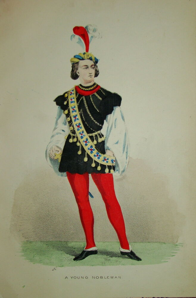 litho costume couleur mode robe homme moyen age 1850 noblesse fashion ebay