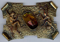 Great Antique Victorian Brass & Faceted Glass MONKEYS SASH PIN
