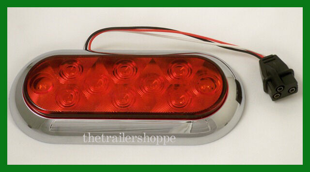 red 6 oval stop turn tail light 10 led surface mount sst. Black Bedroom Furniture Sets. Home Design Ideas