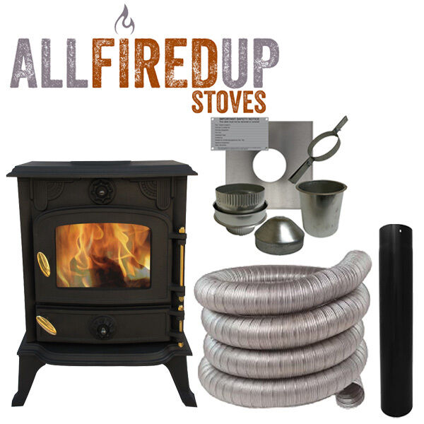 5kw Cast Iron Wood Burning Multi Fuel Stove Complete
