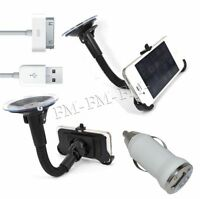 Car Windshield Holder Cradle Mount+Car Charger+Usb Cable For Iphone 4 4G