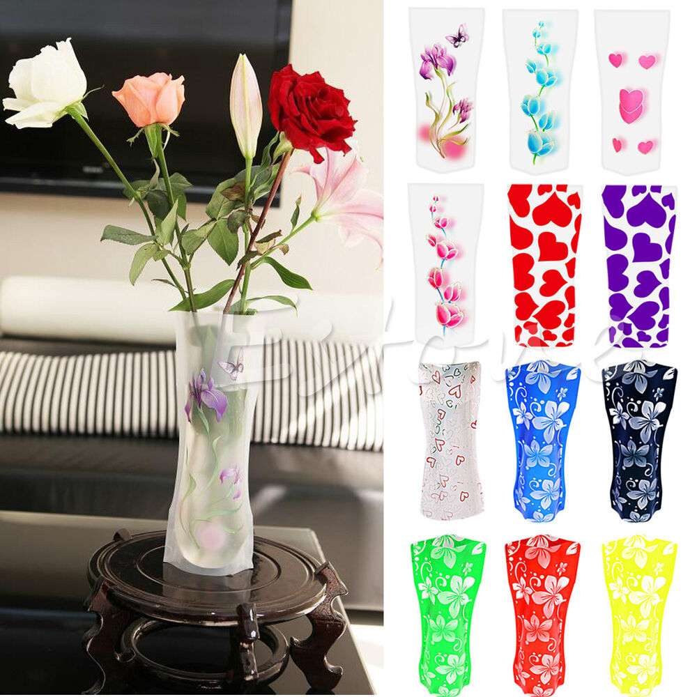2pcs plastic unbreakable foldable reusable flower home for Home decor vases