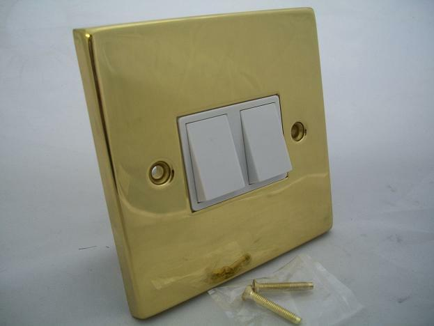 Polished Brass Double Light Switch Victorian White Insert