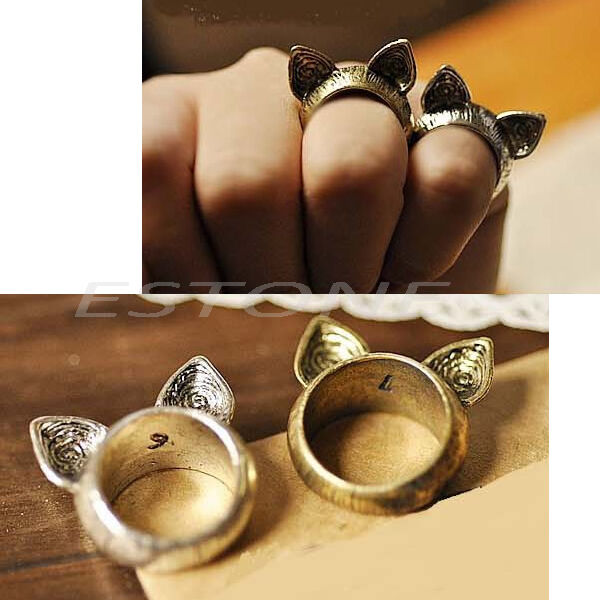 Hot fashion style retro magic wild cute cat ears ring gift Vintage style fashion rings
